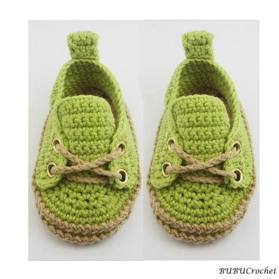 Verdes ganchillo zapatillas de deporte del bebé infantil del ganchillo botines por BUBUCrochet