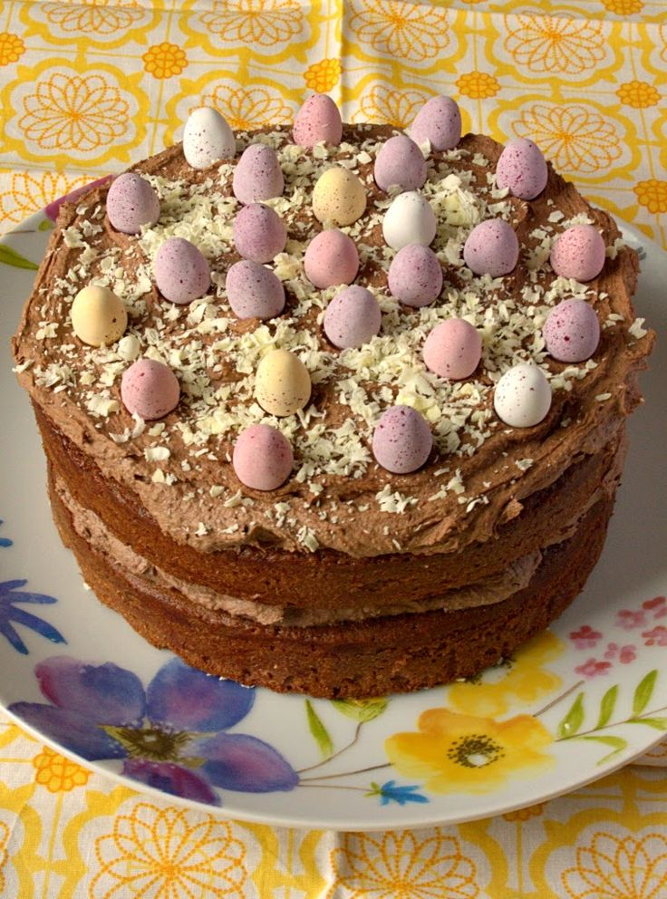 Malted Chocolate Easter Naked Cake full of flavour. Made with Cadbury mini eggs and Ovaltine