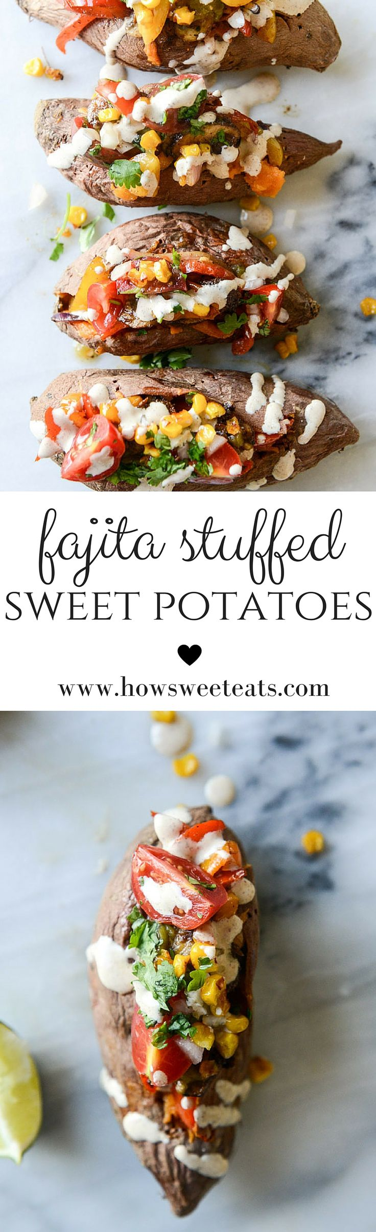 veggie fajita stuffed sweet potatoes I howsweeteats.com