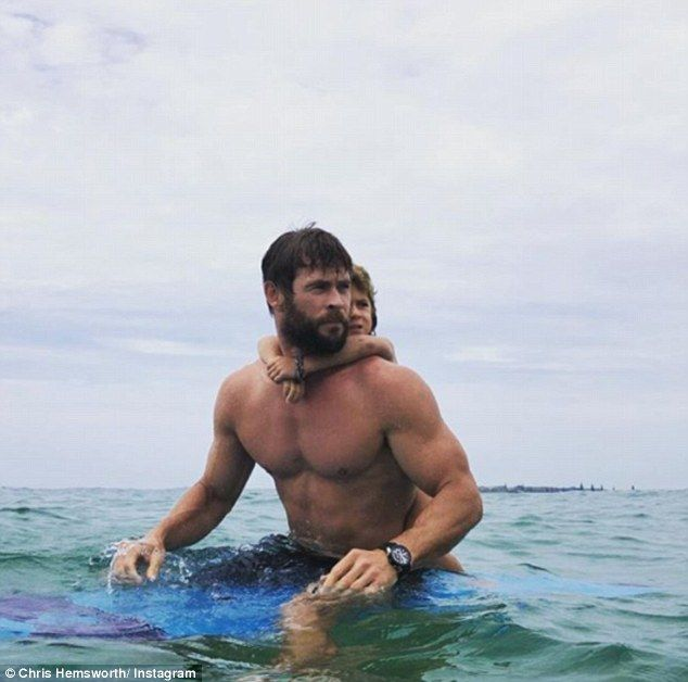 Conquering the waves together! Thor star Chris Hemsworth proved he was a real-life super d...