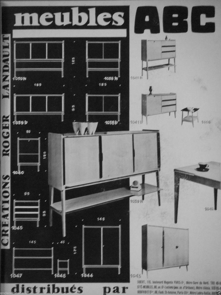 PUBLICITÉ 1957 MEUBLES ABC CRÉATIONS ROGER LANDAULT DISTRBUÉS PAR SIBERT GODFRID in Collections, Objets publicitaires, Publicités papier | eBay