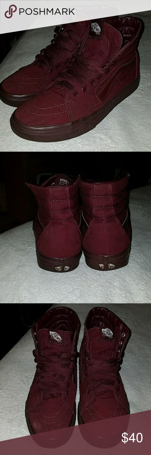 Burgundy High Top Vans Men's size 9. Women's size 10.5 Vans Shoes Sneakers