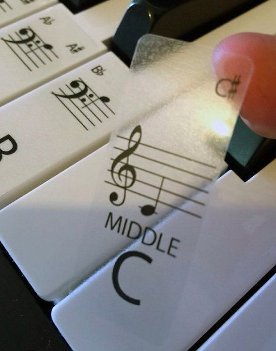 Clear Keyboard / Piano Stickers up to 88 Keys the best by Hannott #EasyPianoLessons