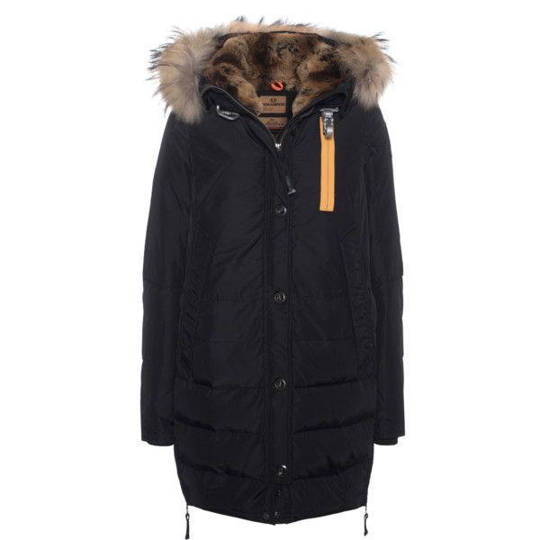 PARAJUMPERS Long Forbes Black // Down parka with furred hood (16,660 MXN) ❤ liked on Polyvore featuring outerwear, coats, jackets, fur hood coat, fur hooded coat, long coat, hooded down jacket and long fur coat