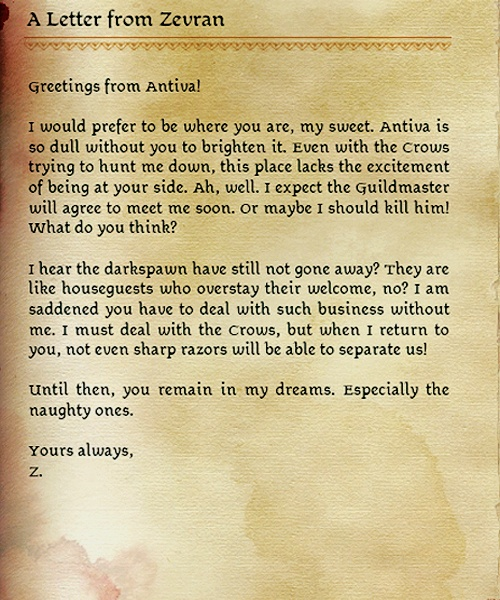 zevran love farawell letter - Dragon Age Origins... Never got this he ended up trying to kill me instead... :(