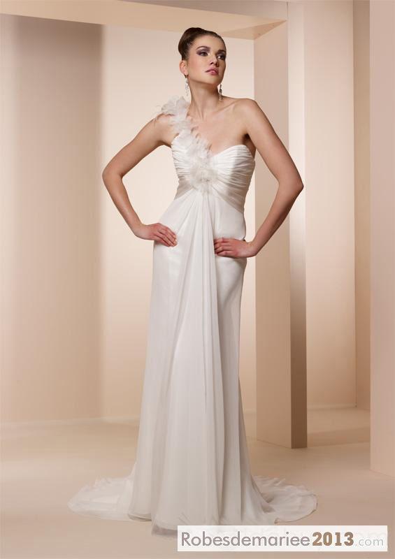 Empire élégant One-Shoulder Floor-length plis train chapelle de mariée Nouvelle robe de mariée