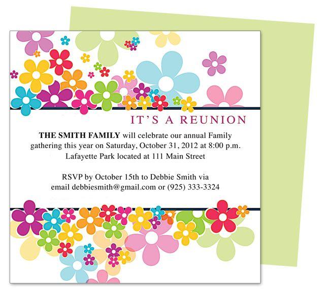 14 best Family Reunion Ideas images on Pinterest Family reunions - class reunion invitation template