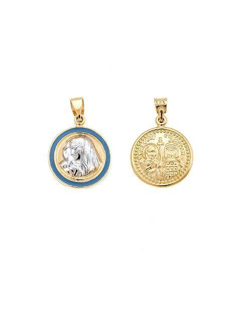 Φυλακτό Χρυσό 14Κ Δίχρωμο με Σμάλτο Αναφορά 011030 Φυλακτό διπλής όψης από Χρυσό Κ14 σε κίτρινο χρώμα και διακοσμημένο με γαλάζιο σμάλτο και με τη μορφή της Παναγίας από Χρυσό Κ14 σε λευκό χρώμα.