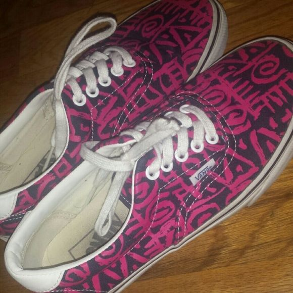 pink and blue vans Very stylish pink and blue tribal print vans!! Size 8, very cute, only been worn a few times ☺ No trades please Vans Shoes