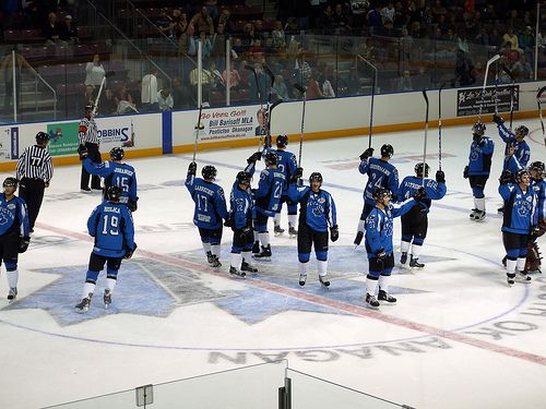12 Penticton Vees hit the scoresheet in their 6-0 rout over the - hockey score sheet