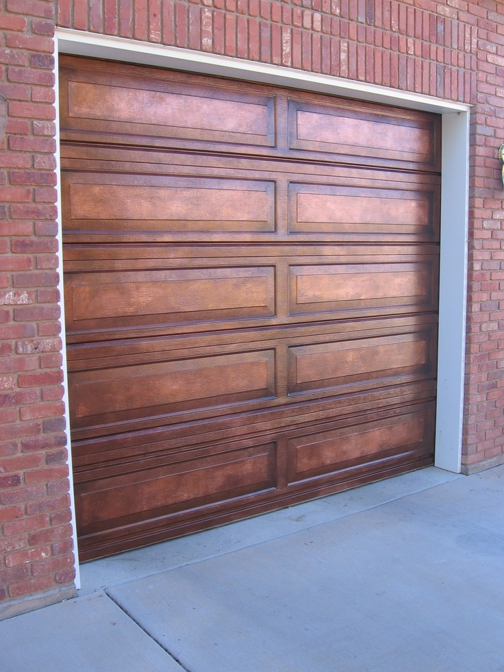 Da vinci details aged copper faux paint garage door for Faux painted garage doors