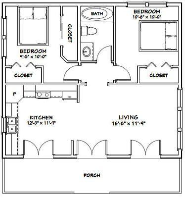 30×26 House — 2 Bedroom 1 Bath — 780 sq ft — PD…