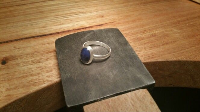 My newly finished handmade sterling silver ring with a bezel stone setting