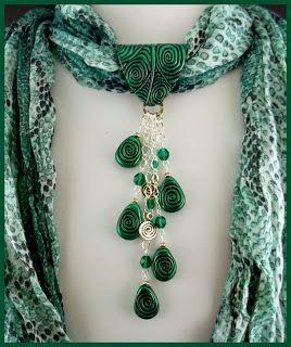 2 Good Claymates: More Scarf Jewelry, #fimo,cernit, polymer clay, sjaal, sieraden, diy