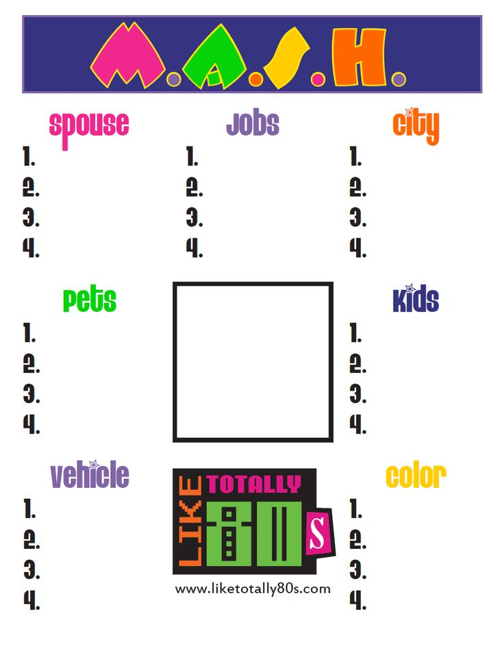 M.A.S.H. Game template by Like Totally 80s - free printable that is perfect for putting on tables at an 80s party! http://www.liketotally80s.com/2006/12/mash-game/