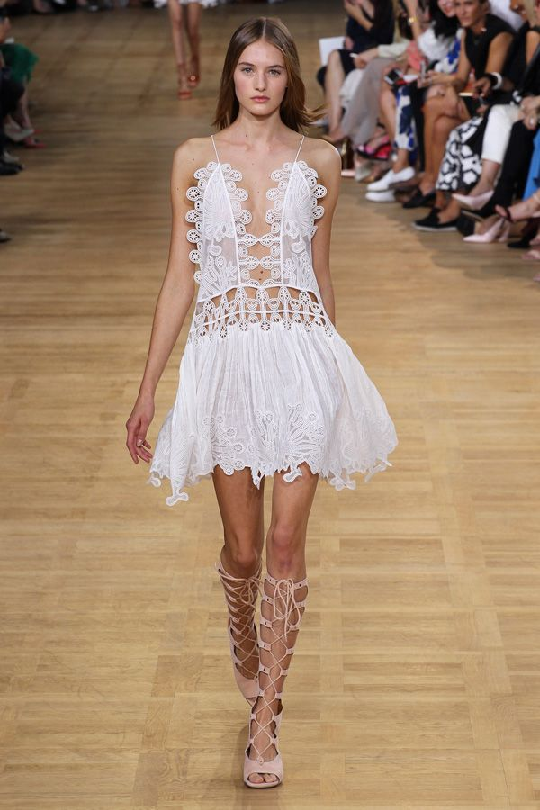 chloe ss15 white embroidered spaghetti strap dress: