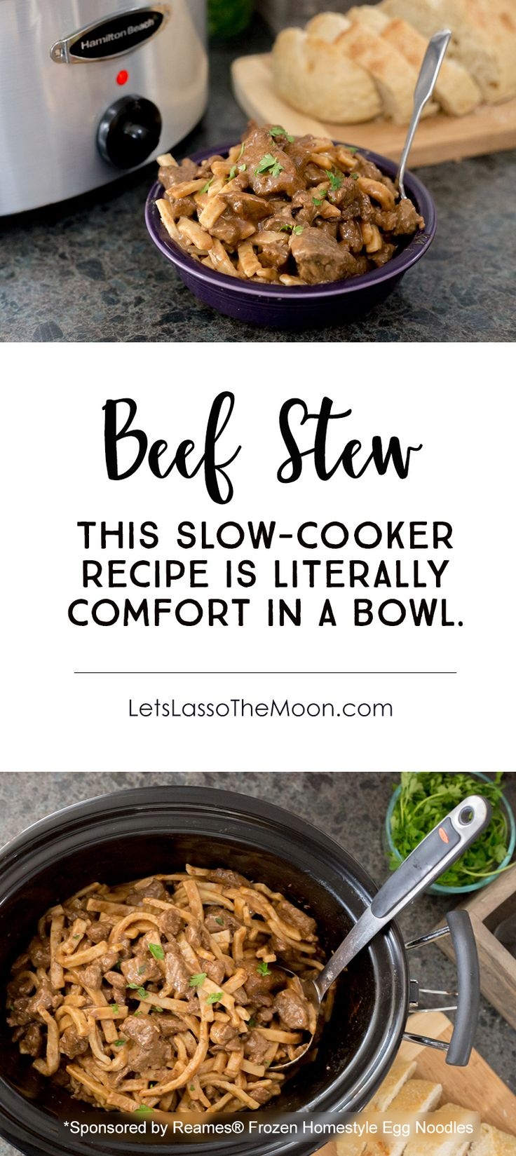 The Slow Cooker Beef Stew is a super easy weekday dinner recipe, but is also perfect for a family get together. This classic crock pot recipe is transformed with a few unexpected ingredients (Hint: it is not what you expect). Served with frozen egg noodles, it is the perfect winter meal. Comfort in a bowl. *My kids and husabdn REALLY liked this one!