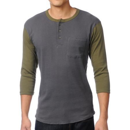 Henley Shirts | ... To: Home > Brixton Detroit Charcoal & Olive Henley Baseball Tee Shirt