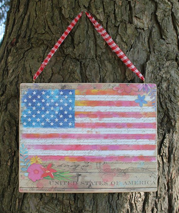 Patriotic Flag 4th of July Stars and Stripes Folk Art Wooden Sign Plaque Primitive Summer Celebration! Handmade in U.S.A American