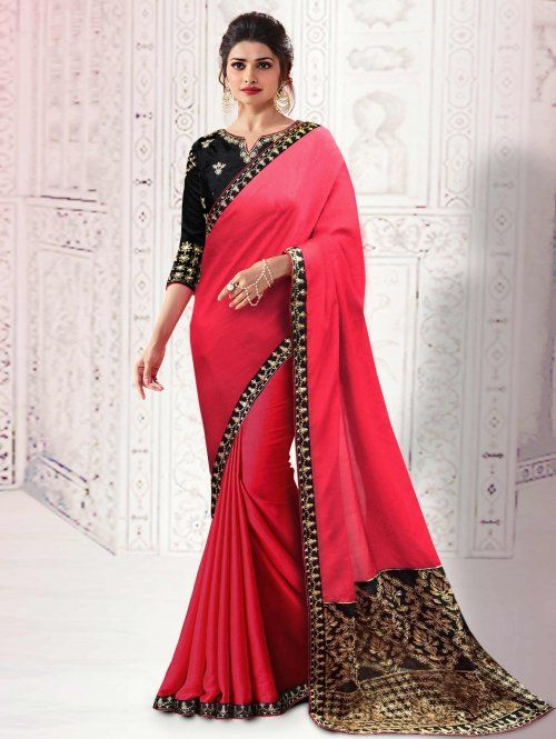 68556e541cb985 Prachi Desai Dark Pink Silk Saree with Zari Embroidery Work | prachi ...