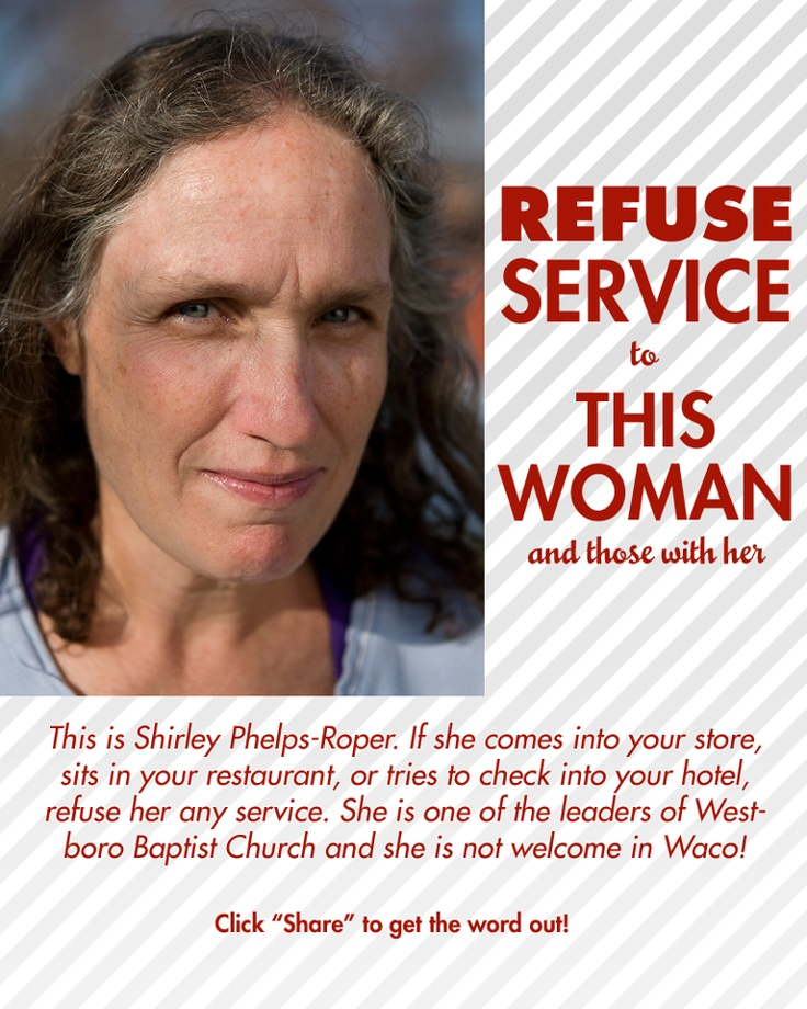 West-Boro Baptist Church - A.K.A. Hate Group http://www.splcenter.org/get-informed/intelligence-files/groups/westboro-baptist-church