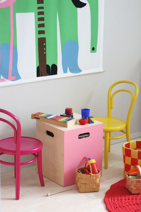 playroom with mini thonet chairs and marimekko elephant