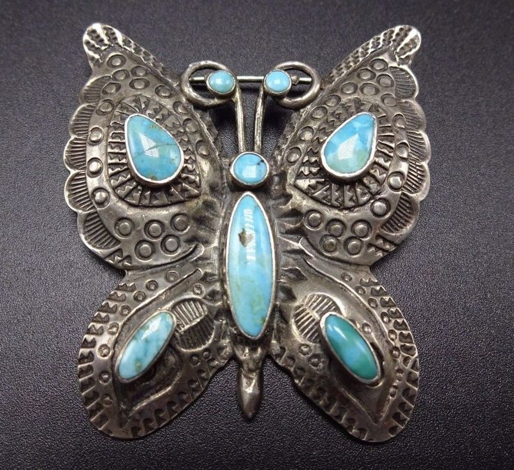 Stunning Vintage NAVAJO Hand-Stamped Sterling Silver & Turquoise BUTTERFLY PIN | eBay