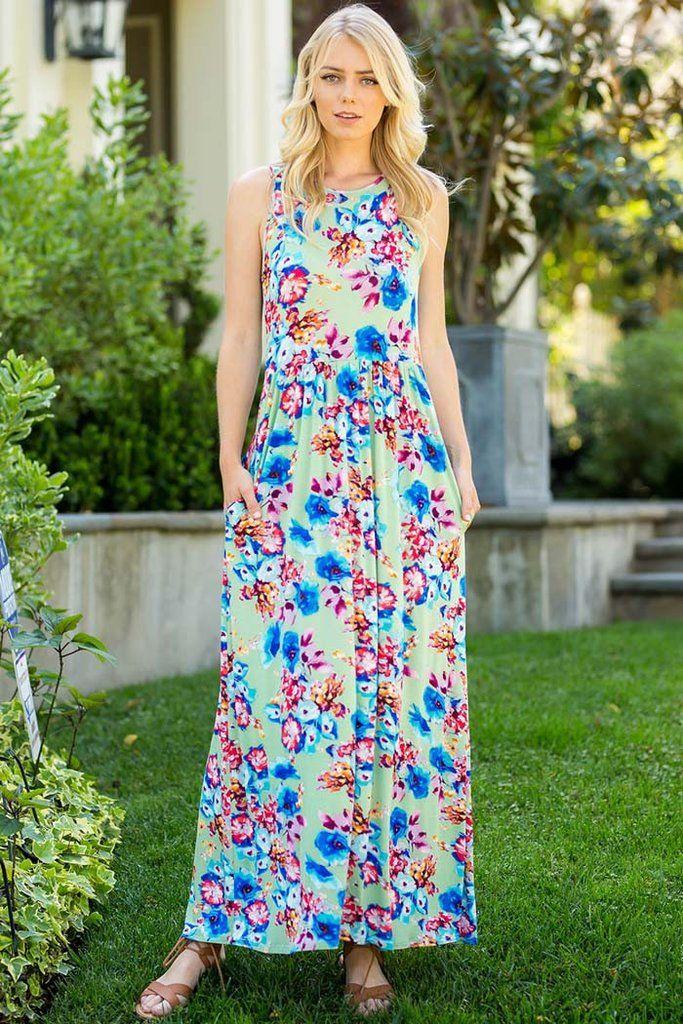 521046720734cd Floral Maxi Dress   Blue