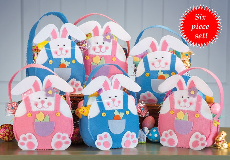 Easter Bunny Treat Bags Set Of Six Easter Bunny Treat Bags Set Of Six, these are just adorable and only $8.97 for the whole set! Set of 6 bunny-shaped treat bags includes 3 pink and 3 blue. The boy bunnies hold a carrot in the front pocket of their overalls, and the girls hold a flower. http://kittykatkoutique.com/easter-bunny-treat-bags-set-of-six/