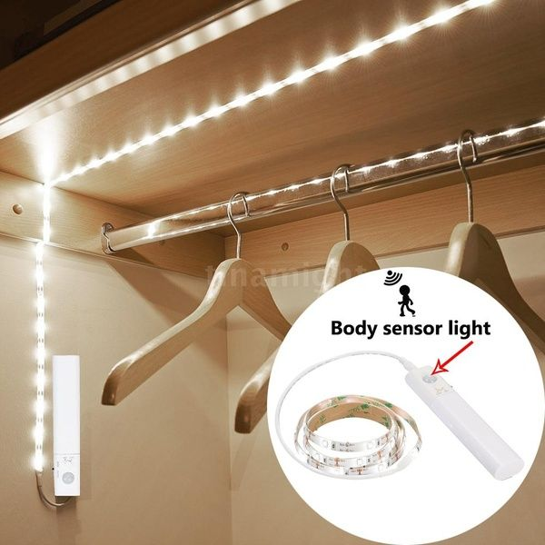 Sensitive Pir Motion Sensor Strip Light Cabinet Lamp With Automatic Manual 2 Switch Modes Remote Battery Powered Operated 1m 30leds Smd2835 For Wardrobe Cabin Motion Sensor Closet Light Closet Lighting