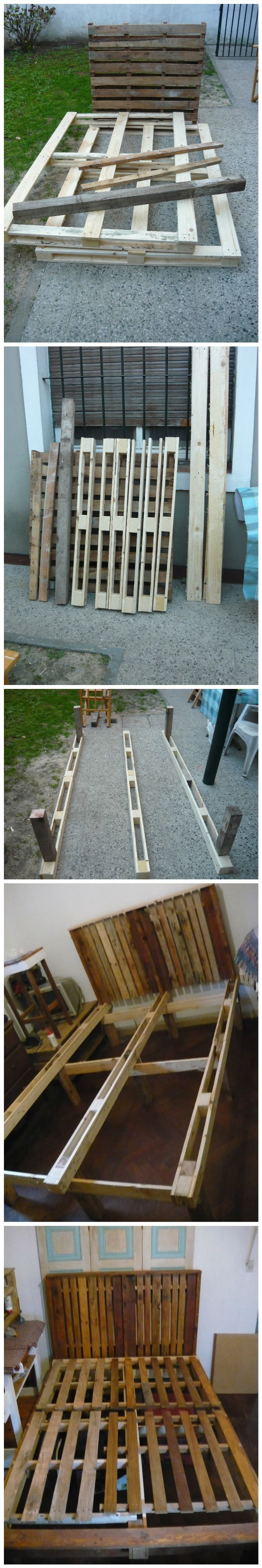 Slatted bed frames from pallets pallet ideas recycled for Recycled pallet bed frame
