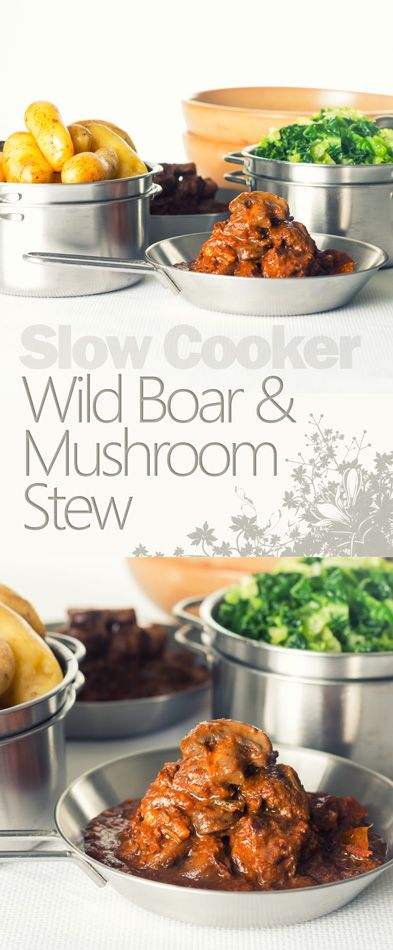 Slow Cooker Wild Boar Stew with Mushrooms Recipe: Wild boar is a fantastically underused meat that makes the most wonderful autumn or winter meal, this wild boar stew really show cases its flavour!