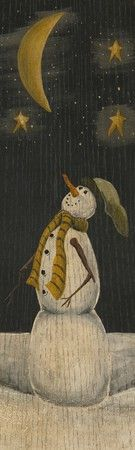 Silent Night by Chris Palmer Country Primitive Folk Snowman Art Print- 6x20