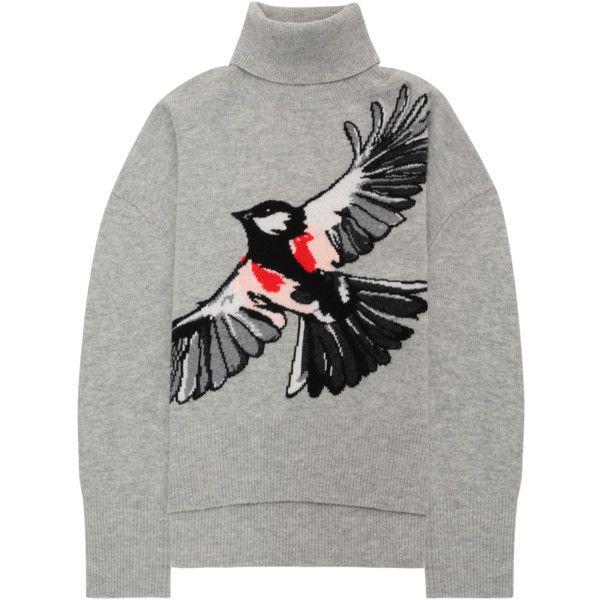 Markus Lupfer Light Grey Intarsia Bird Erin Jumper (1.425 BRL) ❤ liked on Polyvore featuring tops, sweaters, over sized sweaters, light grey sweater, turtleneck top, oversized turtleneck sweaters and embroidered top