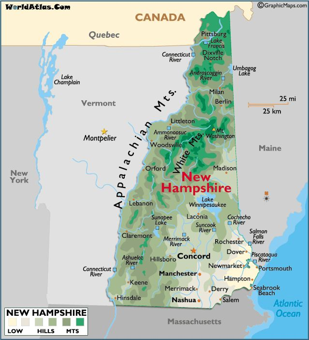 Map Of New Hampshire Large Color Map