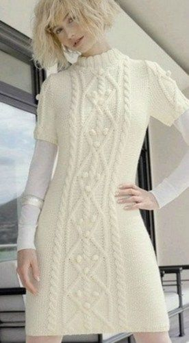 Hand knit Long White Dress with Cabled Pattern from Merino wool