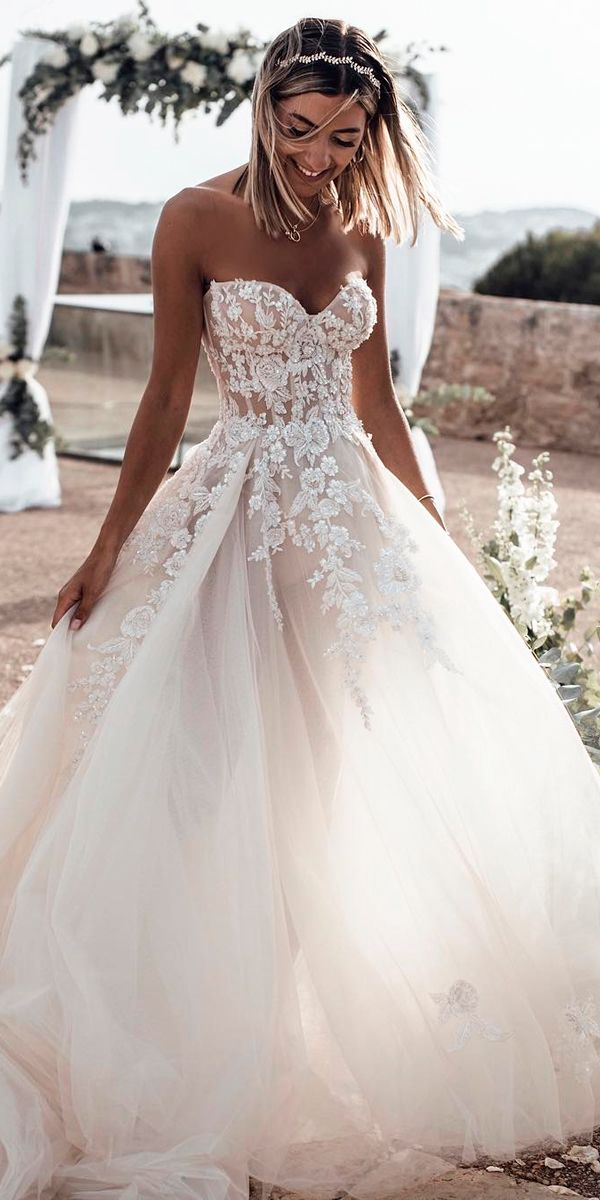 Sweetheart Wedding Dresses Ball Gown Lace Strapless Floral Applique Tali Ball Gowns Wedding Sweetheart Wedding Dress Wedding Dresses