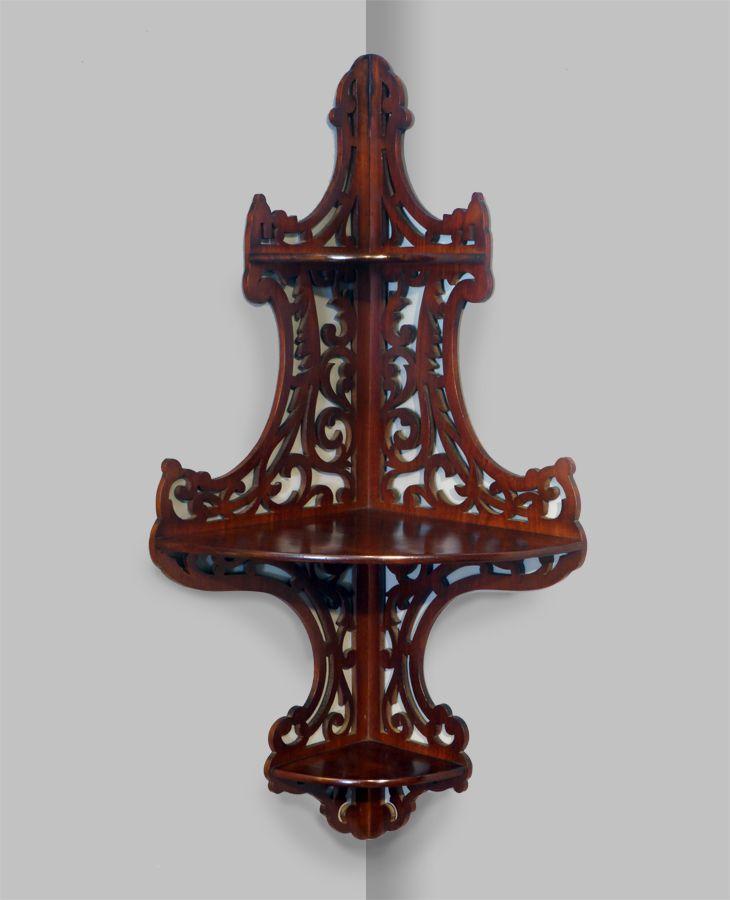 19th century mahogany corner wall bracket