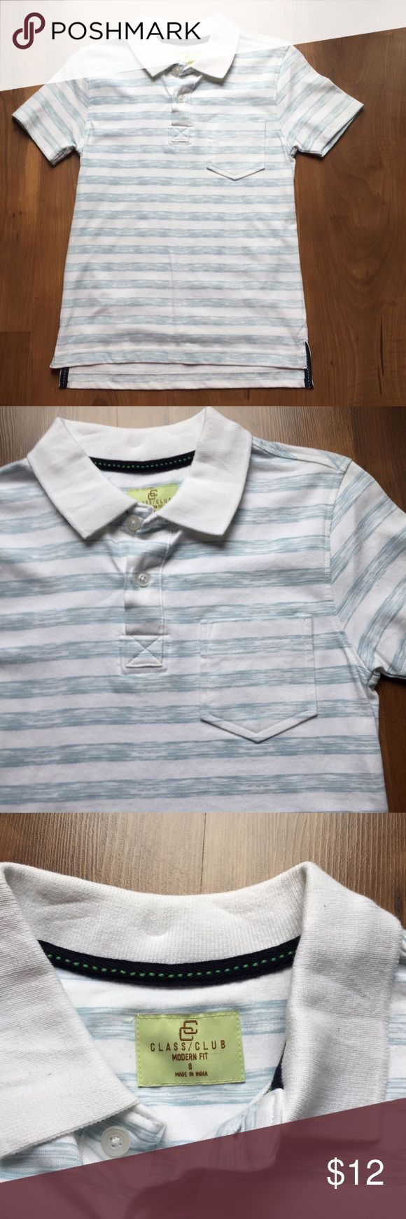 Class Club Polo Shirt NWOT Class Club Polo Shirt   Short Sleeve White and Light Blue Striped Polo Shirt with Front Pocket   100% Cotton   New WithOUT Tags Class Club Shirts & Tops Polos