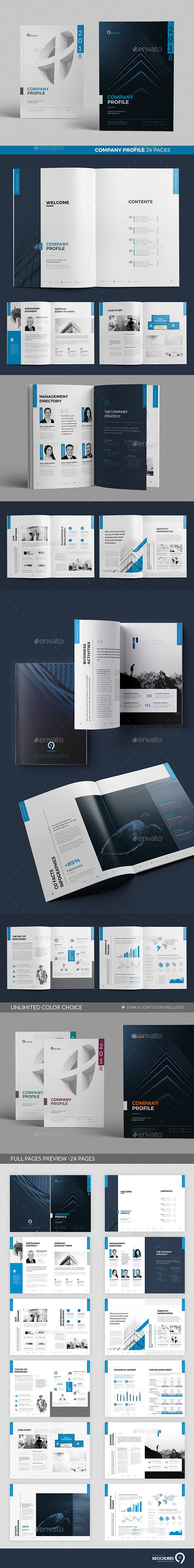 Company Profile Brochure Template InDesign INDD - 24 Custom Layout Pages A4 and US Letter Size