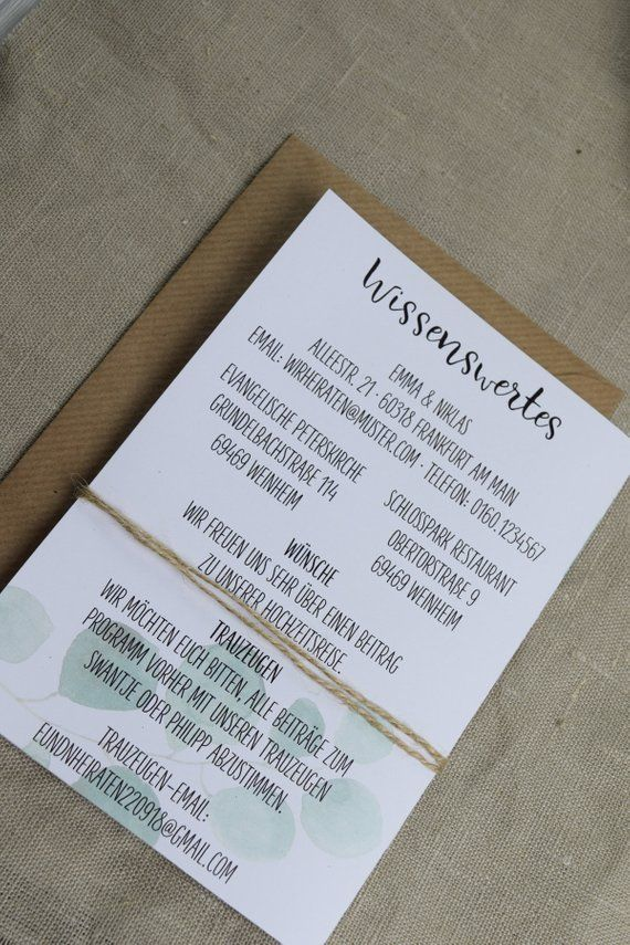 Hochzeitseinladung Eukalyptus Vintage Style Einladungskarte Zur Hochzeit Indviduelle Hochzeitskarte Hochzeitseinladung Karte Hochzeit Und Einladungen