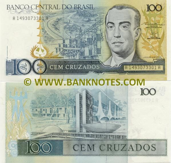 brazil currency | Brazil 100 Cruzados 1987 - Brazilian Currency Bank Notes, Paper Money ...