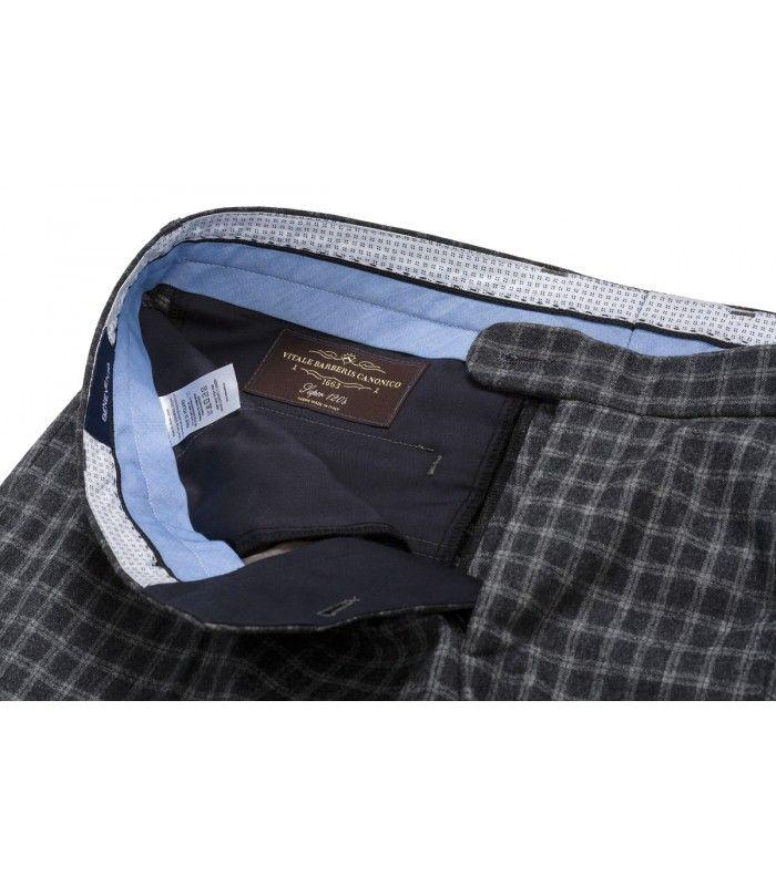 BeneventoCLTH.com Woolen Flannel in Grey Check from Vitali Barberis Canonico, Truely Classic Men's Flannel Trousers