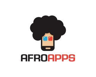 Afro Apps Logo design - Logo design of a smartphone with an afro hair style.  Price $250.00