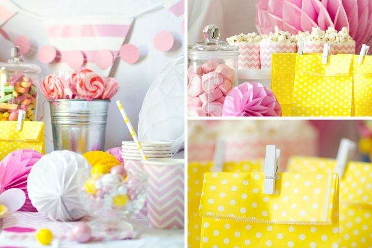 Pink and yellow make a gorgeous combination for a spring bash, bridal shower, baby shower or engagement. Find all these honeycomb balls, straws,favor bags and more for this gorgeous pink lemonade party at http://littlemonsterco.com.au/collections/pink-yellow-party-theme