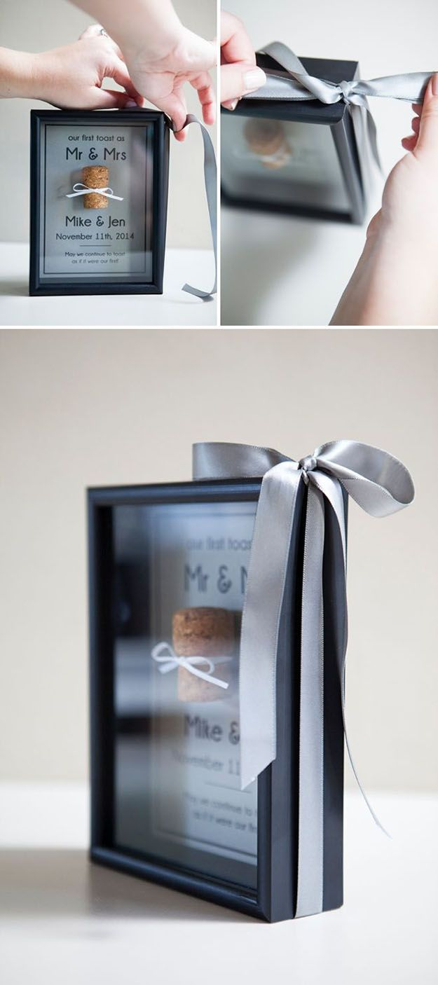 Wine Cork DIY Shadowbox for a Wedding Gift - Wine Cork DIY Memory Box - DIY Projects & Crafts by DIY JOY