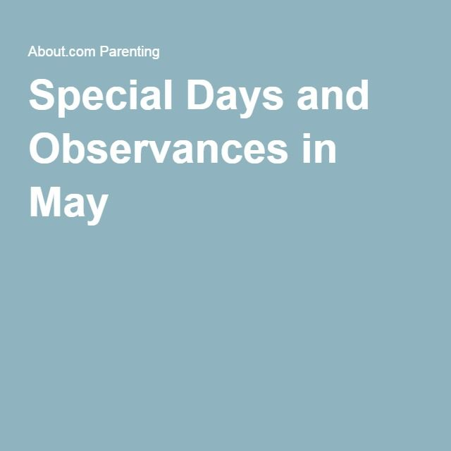 Special Days and Observances in May