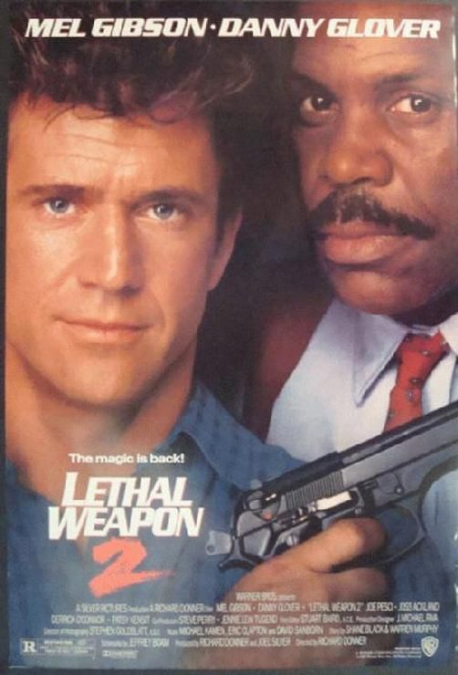Original one sheet movie poster for Lethal Weapon 2 starring Mel Gibson, Danny Glover and Joe Pesci from 1989. Double sided. 27 x 40 inches.  Light Edge wear.