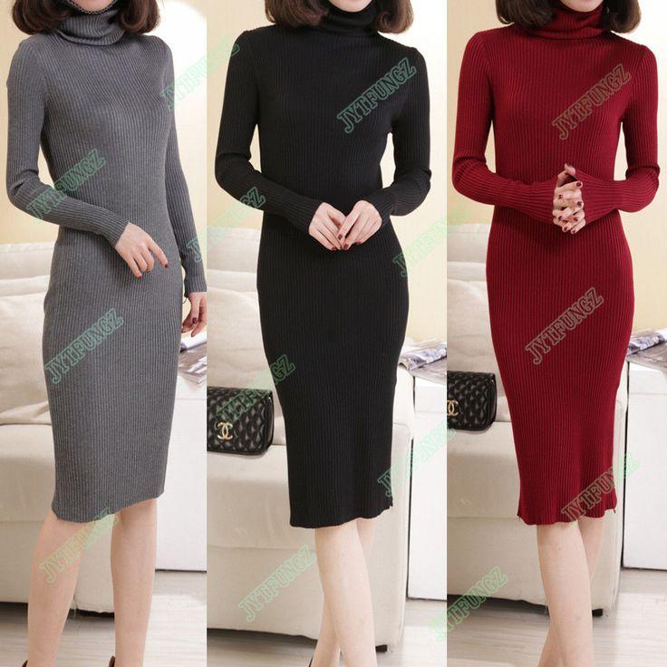 Winter Turtleneck Women Jumper Long Sleeve Knit Bodycon Slim Sweater Dress