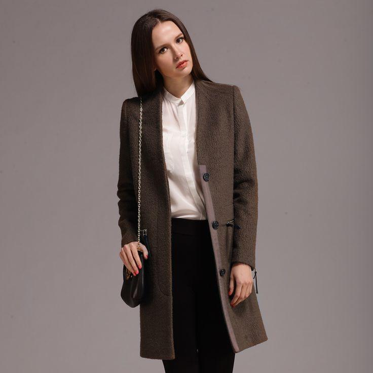 Longue section de la single-breasted manches longues manteau de Mme